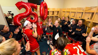 When Maryland women's lacrosse coach Cathy Reese earned win No. 250 in a 17-12 victory at Florida on Feb. 14, the team surprised her with 250 balloons in the locker room and a video of current and former players congratulating her on her achievement.