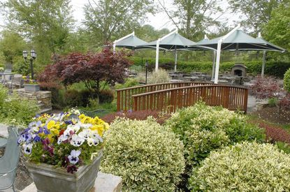 The Oregon Grille restaurant garden and patio area.