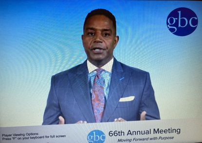 Calvin Butler, GBC chair and CEO of Exelon Utilities, addresses the Greater Baltimore Committee's annual meeting, held virtually this month.