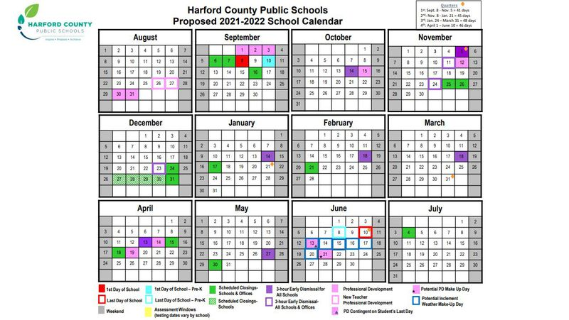 Howard County Public Schools Calendar 2021-22 Harford County Public Schools' 2021 22 calendar calls for classes