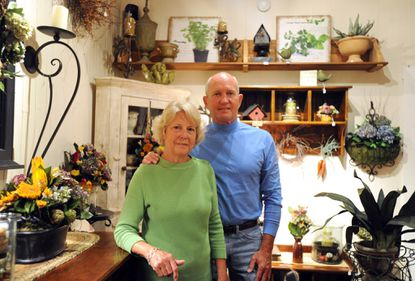 Jane and Rick Barger, owners of Natural Gatherings on Main Street in Bel Air, Md., create flower arrangements and crafts from the bounty of their backyard.