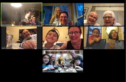 The Sharfstein family used Zoom to keep its Passover Seder tradition alive Wednesday during the coronavirus pandemic. Photo courtesy of Josh Sharfstein.