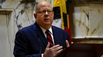 Governor Larry Hogan delivers the State of the State address in the House of Delegates chamber at the state house in Annapolis.
