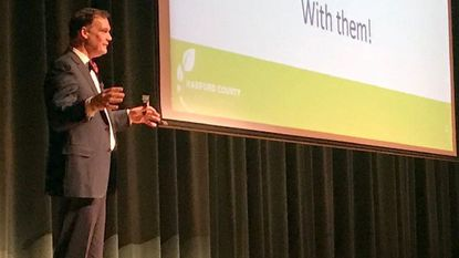 """Harford County Public Schools Superintendent Sean Bulson presents his findings from the """"Listen and Learn Tour"""" he held this fall during a community meeting on Monday at Harford Technical High School in Bel Air."""