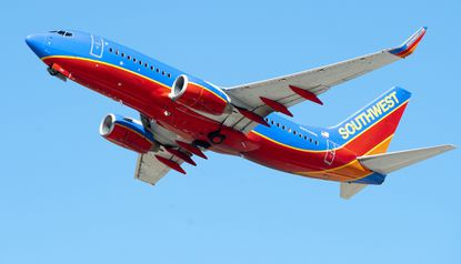 A Southwest Airlines Boeing 737 takes off at Los Angeles International Airport in 2015.