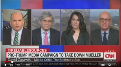 "(L to R) CNN ""Reliable Sources"" host Brian Stelter, Yahoo's Michael Isikoff, CNN's Hadas Gold and The Baltimore Sun's David Zurawik talking about the media and the Nunes memo."