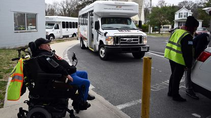 Ricky Gnibus of Baltimore County waits for his MTA Mobility ride after finishing his day at The League for People With Disabilities.