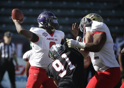 Jerry Lovelocke throws a pass during the first half of last month's NFLPA Collegiate Bowl.