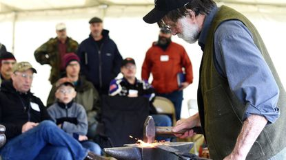 Sheldon Browder demonstrates blacksmithing techniques during the 2016 Blacksmith Days at the Carroll County Farm Museum in Westminster.
