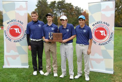 Marriotts Ridge golfers (From L to R) Bennett Buch, Jackson Courtney, John Szymanski and Nick Mejia pose together with the 1A/2A state championship trophy on Wednesday at the University of Maryland golf course.
