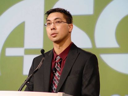 Parkville High School teacher Ryan Twentey, shown speaking at the ASCD conference in Chicago, is one of two teachers honored as a national Outstanding Young Educator.