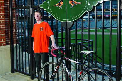 Jacob Landis was riding his bicycle to 30 Major League Baseball stadiums around the country to raise money for those who needed cochlear implants but could not afford them.