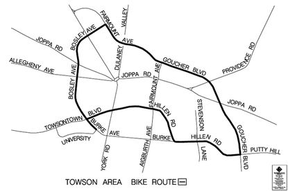 Map of the proposed Bike Beltway route through Towson, provided by the county's Department of Public Works. The proposed route will be the subject of a public hearing on Dec. 17 in Towson.