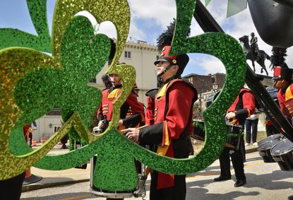 The Calvert Hall College High School Band kicks off Baltimore's 2015 St. Patrick Parade. This year's parade is set for March 12.