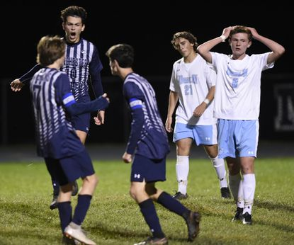 Manchester Valley celebrates a goal against Westminster October 16, 2018 in Manchester.