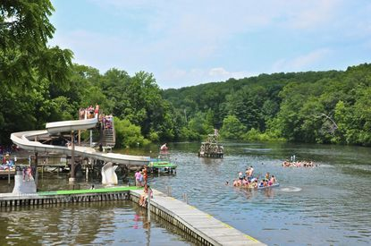 Swimmers have a number of options to enter and enjoy Cascade Lake in Hampstead, Md. - Original Credit: