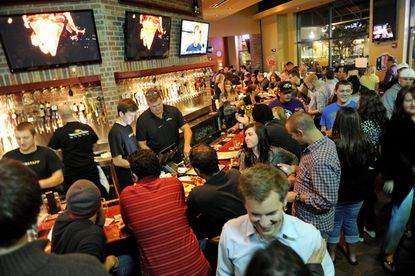 The scene by the bar on World of Beer's opening weekend.