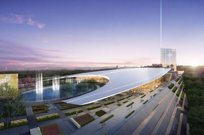The perspective on the terrace of MGM National Harbor casino in Prince George County.
