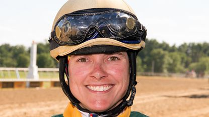 Apprentice jockey Jenn Miller, riding for the first time since being seriously injured in a spill 17 months earlier, ran second in her comeback race aboard River Card Stable's Moneymeister in Monday's opener at Laurel Park.