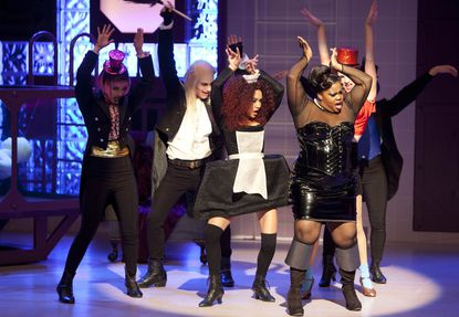 "Dianna Agron, left, Chris Colfer, Naya Rivera, Amber Riley and Heather Morris in the ""Rocky Horror Picture Show"" episode of ""Glee."""
