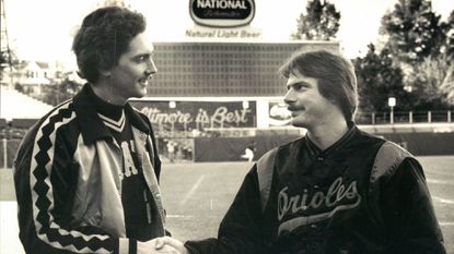 Starting World Series pitchers Bruce Kison, left, and Mike Flanagan at Memorial Stadium.