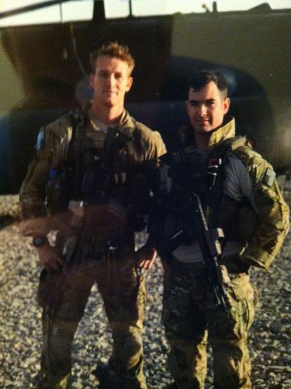 """""""I grew up in a patriotic household,"""" said Casey Carroll (left). """"Both of my brothers are New York City firefighters, as was my father [now retired]. All served their country."""""""
