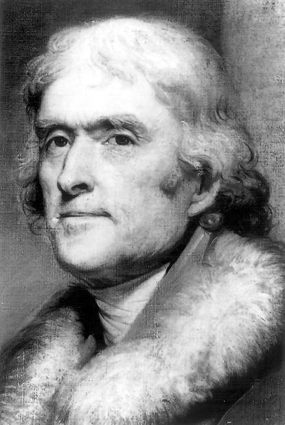 Painting of Thomas Jefferson (1743-1826), third president of the United States.