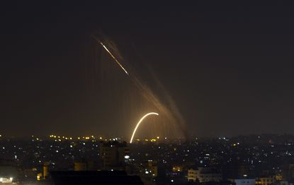 Rockets are launched from the Gaza Strip towards Israel, Nov. 13, 2019.