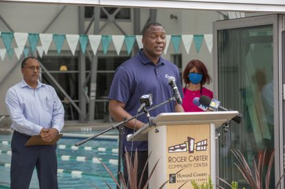Howard County Executive Calvin Ball at a news conference announcing the lifting of certain pandemic restrictions outside the Roger Carter Community Center in Ellicott City on Thursday, April 29, 2021. (Baltimore Sun handout).