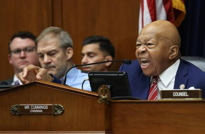 Chairman Rep. Elijah Cummings, a Democrat from Maryland, questions acting Homeland Security Secretary Kevin McAleenan while he testifies before the House Oversight and Reform Committee on Thursday in Washington.