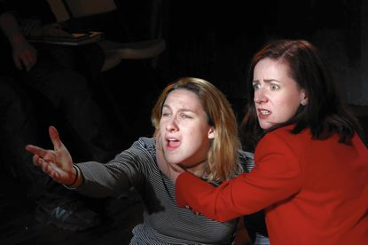 """Caitlin Carbone, left, as Hamlet and Katharine Vary as Gertrude in Cohesion Theatre Company's production of """"Hamlet"""""""