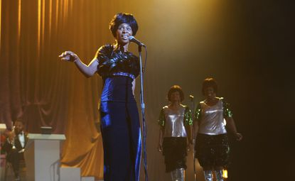"""Cynthia Erivo portrays Aretha Franklin in a scene from the National Geographic miniseries """"Genius: Aretha."""" (Richard DuCree/National Geographic via AP)"""