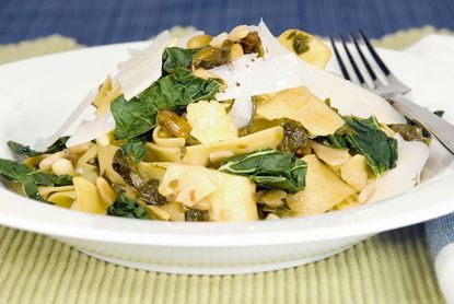 Kale with pappardelle and sun-dried tomatoes.