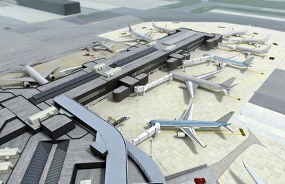 A rendering of theplanned extension of the international concourse at BWI.