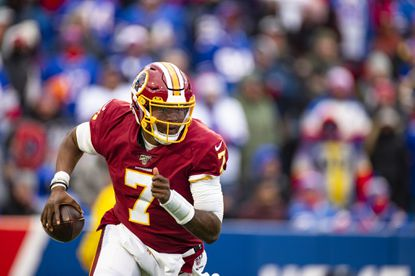 ORCHARD PARK, NY - NOVEMBER 03: Dwayne Haskins #7 of the Washington Redskins runs with the ball during the fourth quarter against the Buffalo Bills at New Era Field on November 3, 2019 in Orchard Park, New York. Buffalo defeats Washington 24-9.