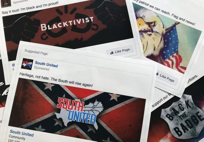Some of the Facebook ads linked to a Russian effort to disrupt the American political process and stir up tensions around divisive social issues, released by members of the U.S. House Intelligence committee, are photographed in Washington on Nov. 1, 2017.