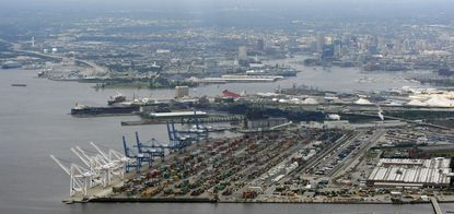 An aerial view of the Port of Baltimore's Seagirt Marine Terminal where planned upgrades in rail transportation are one of the bright spots for the city's economic future.