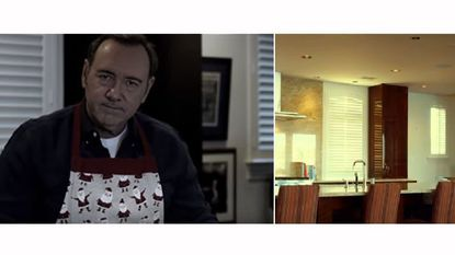 A video posted on YouTube featuring actor Kevin Spacey is shown next to an image from a sales video showing the inside of a condo in Baltimore.