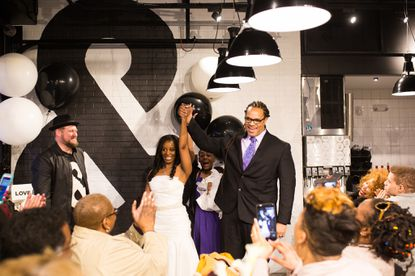 """Ayana Nicole Green and Theodore """"Teddy"""" Hollace Roebuck Jr. got married March 15 as part of a Pi Day celebration at &pizza in Federal Hill."""