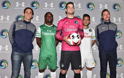 Carlos Mendes, Lucky Mkosana, Jimmy Maurer, Andres Flores, Hunter Freeman show off the new Under Armour uniforms.