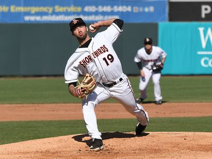 Orioles pitching prospect Drew Rom on the mound with Low-A Delmarva this season.
