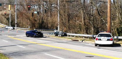 Baltimore County Police are investigating a two-car crash on Goucher Boulevard near the intersection of East Joppa Road on Monday morning.