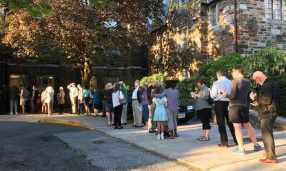 "Voters line up outside First English Lutheran Church in North Baltimore just before polls opened Tuesday morning. Find <a href=""http://live.baltimoresun.com/Event/Maryland_Primary_Election_2016"">live updates here.</a>"