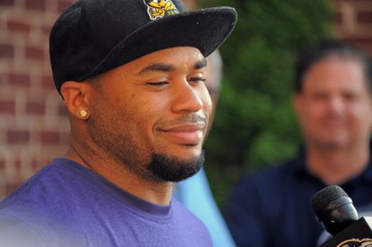 Ravens wide receiver Steve Smith Sr. talks to the media about last season's injury and future during minicamp at the Ravens' training facility.