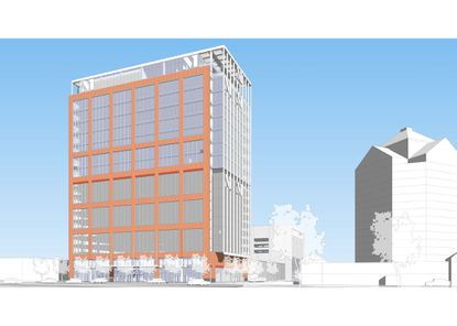 Merritt Properties shared preliminary renderings Thursday of a 20-story office tower it wants to build in Canton.