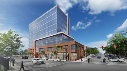 A rendering of the proposed office building on Key Highway in Locust Point.