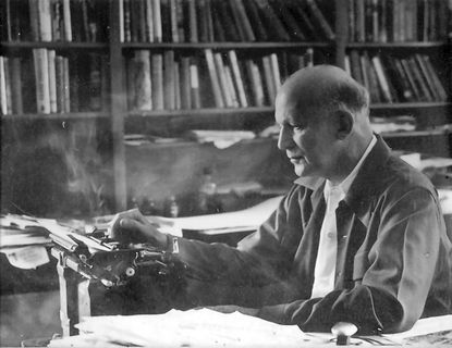 Russell Lord, editor of the influential conservation journal The Land, works at his typewriter. The Land was published in Bel Air from 1941 to 1954 by Lord and his wife, Kate Kalkman Lord.