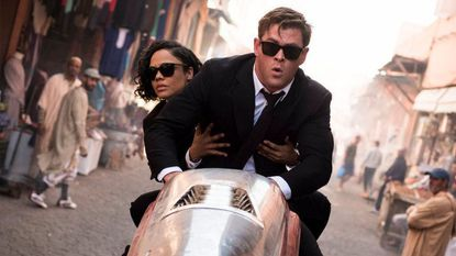 """Chris Hemsworth and Tessa Thompson in a scene from Columbia Pictures' """"Men in Black: International."""""""