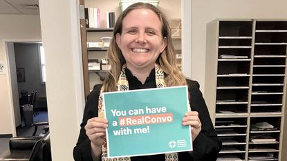 Rev. Jesse Lowry, pastor of Christ Our Anchor, with the #REALCONVO hastag. The church is observing May as Mental Health Awareness Month.