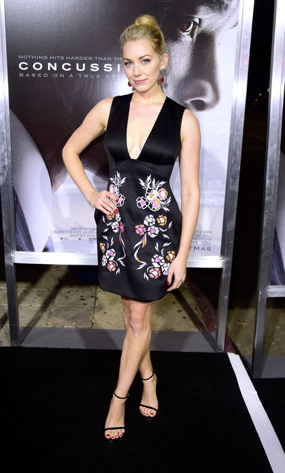 """Actress Sara Lindsey attends a Screening Of Columbia Pictures' """"Concussion"""" at Regency Village Theatre on November 23, 2015 in Westwood, California."""